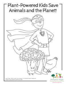 Plant-Powered Kids Save Animals and the Planet coloring sheet